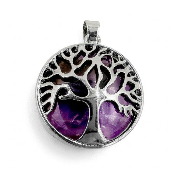 Rhodium Plated Amethyst Tree of Life Pendant 27mm x 31mm